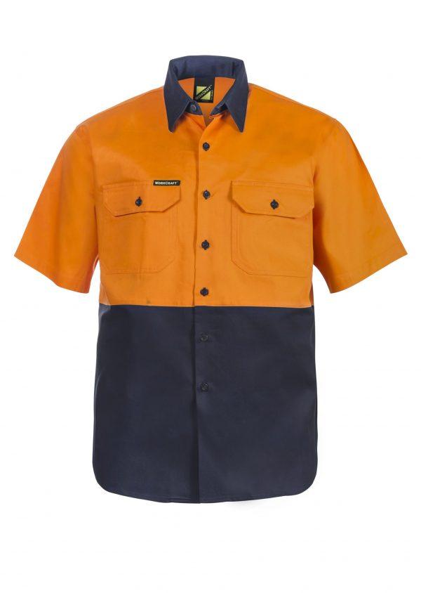 WS3023 Hi Vis Two Tone Short Sleeve Cotton Drill Shirt NO1