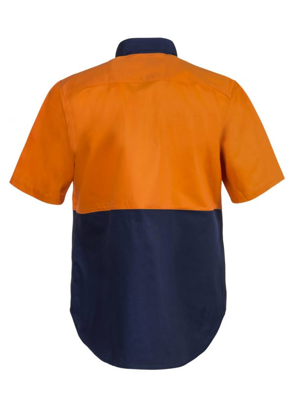 WS3023 Hi Vis Two Tone Short Sleeve Cotton Drill Shirt NO2