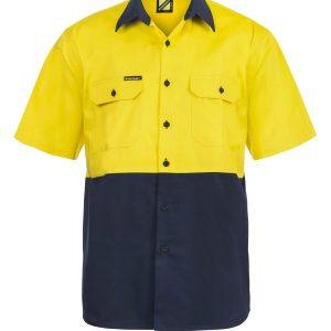 WS3023 Hi Vis Two Tone Short Sleeve Cotton Drill Shirt NY1
