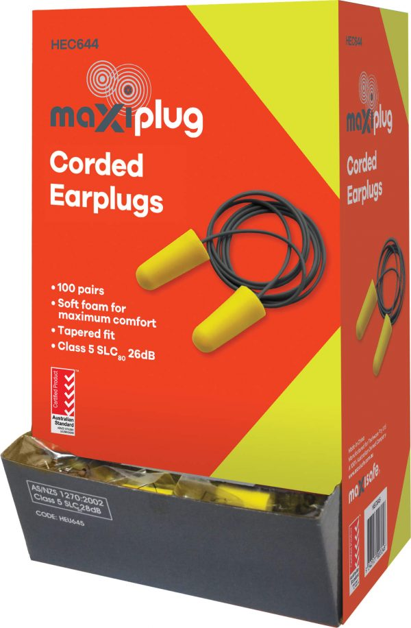 HEC644 MaxiPlug Earplug Corded 100 Pair – Box
