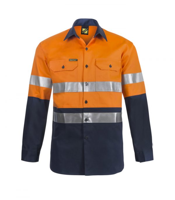WS6030 Lightweight Hi Vis Two Tone Long Sleeve Cotton Drill Shirt with CSR Tape NO1