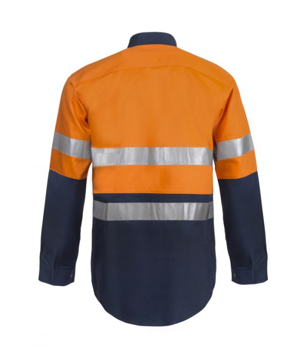 WS6030 Lightweight Hi Vis Two Tone Long Sleeve Cotton Drill Shirt with CSR Tape NO2