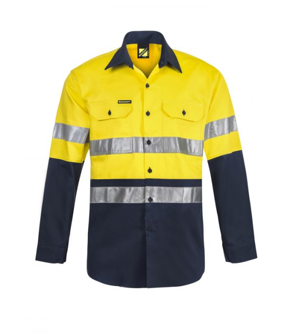 WS6030 Lightweight Hi Vis Two Tone Long Sleeve Cotton Drill Shirt with CSR Tape NY1