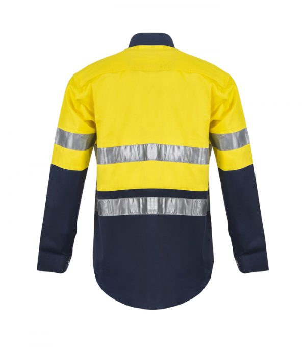 WS6030 Lightweight Hi Vis Two Tone Long Sleeve Cotton Drill Shirt with CSR Tape NY2
