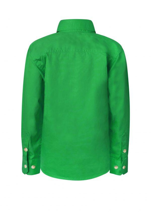 WSK131 Kids Lightweight Long Sleeve Half Placket Cotton GRN2