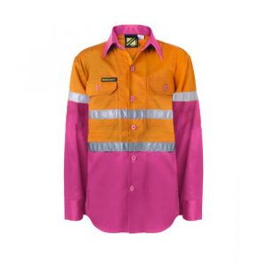 WSK125 Kids Lightweight Two Tone Long Sleeve Cotton Drill Shirt With CSR Reflective Tape PO1