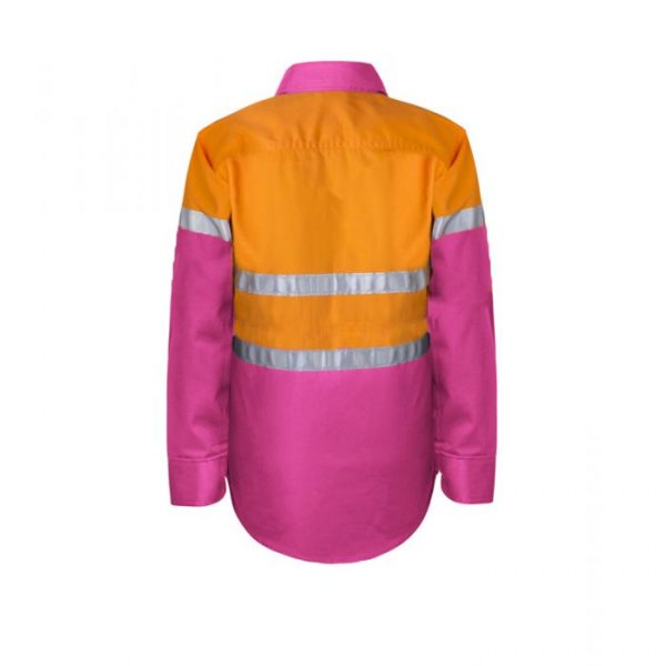 WSK125 Kids Lightweight Two Tone Long Sleeve Cotton Drill Shirt With CSR Reflective Tape PO2