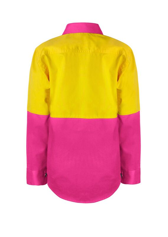 WSK127 Kids Lightweight Two Tone Long Sleeve Cotton Drill PY2