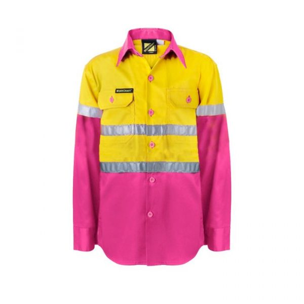 WSK125 Kids Lightweight Two Tone Long Sleeve Cotton Drill Shirt With CSR Reflective Tape PY1