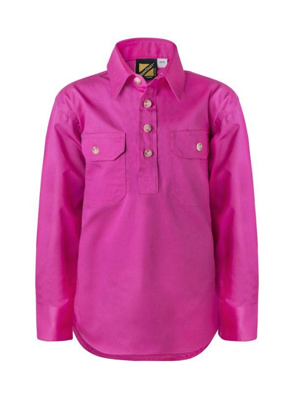 WSK131 Kids Lightweight Long Sleeve Half Placket Cotton PINK1