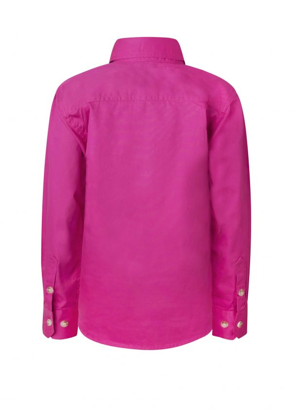 WSK131 Kids Lightweight Long Sleeve Half Placket Cotton PINK2