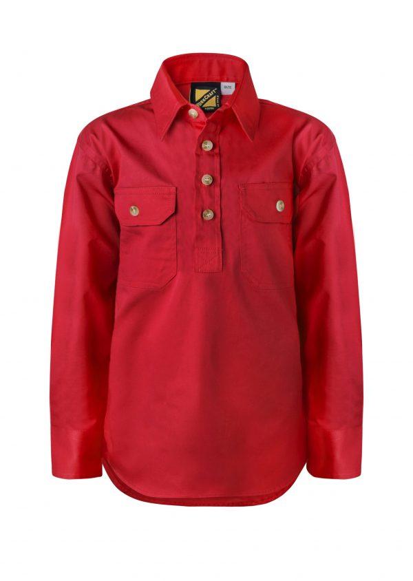 WSK131 Kids Lightweight Long Sleeve Half Placket Cotton RED1
