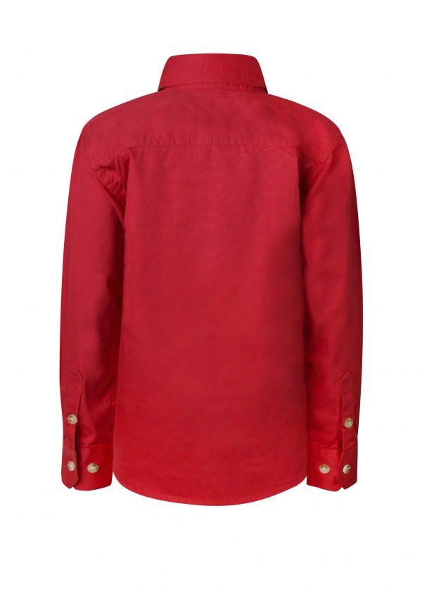 WSK131 Kids Lightweight Long Sleeve Half Placket Cotton RED2