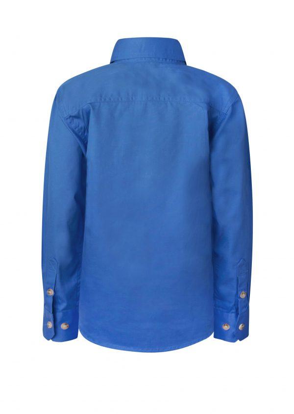 WSK131 Kids Lightweight Long Sleeve Half Placket Cotton CBLUE2
