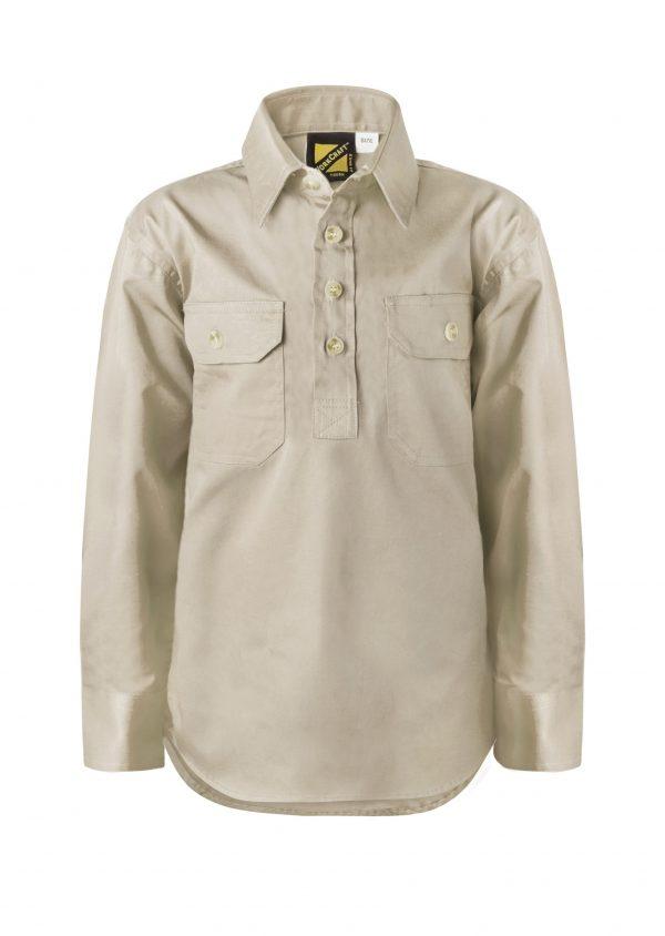 WSK131 Kids Lightweight Long Sleeve Half Placket Cotton CREAM1