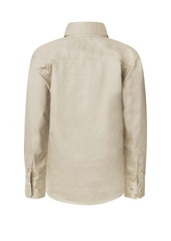 WSK131 Kids Lightweight Long Sleeve Half Placket Cotton CREAM2