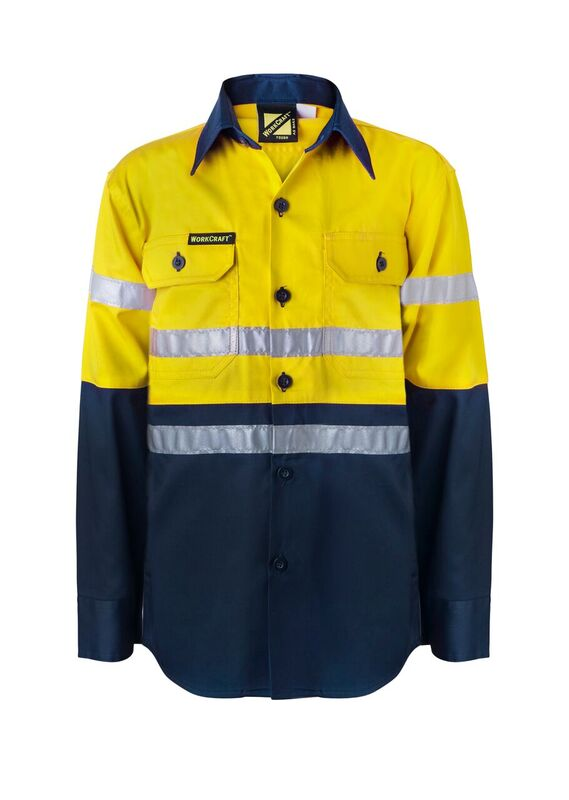 WSK125 Kids Lightweight Two Tone Long Sleeve Cotton Drill Shirt With CSR Reflective Tape NY1