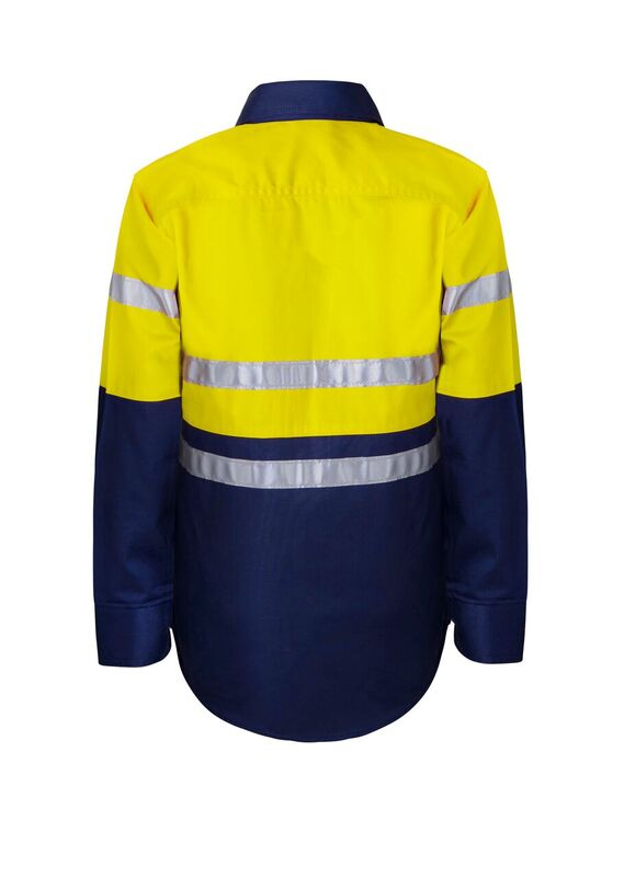 WSK125 Kids Lightweight Two Tone Long Sleeve Cotton Drill Shirt With CSR Reflective Tape NY2
