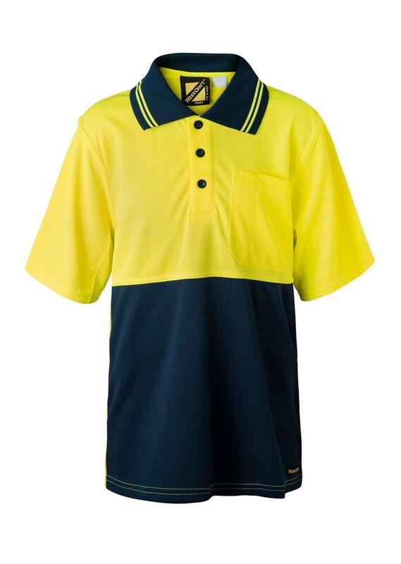WSPK20 Kids Two Tone Short Sleeve Micromesh Polo With Pocket NY1