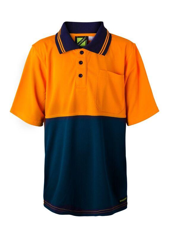WSPK20 Kids Two Tone Short Sleeve Micromesh Polo With Pocket NO1