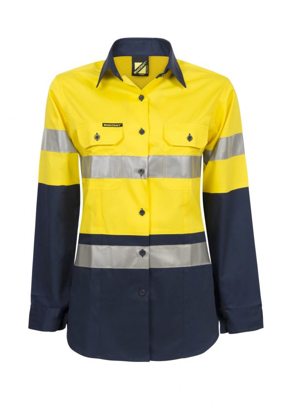 WSL501 Ladies Hi Vis Two Tone Long Sleeve Cotton Drill Shirt With CSR Tape NY1