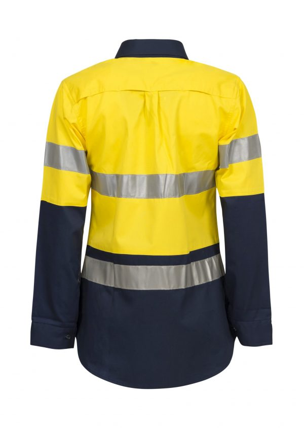 WSL501 Ladies Hi Vis Two Tone Long Sleeve Cotton Drill Shirt With CSR Tape NY2
