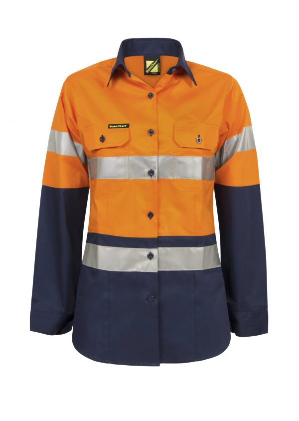 WSL501 Ladies Hi Vis Two Tone Long Sleeve Cotton Drill Shirt With CSR Tape NO1