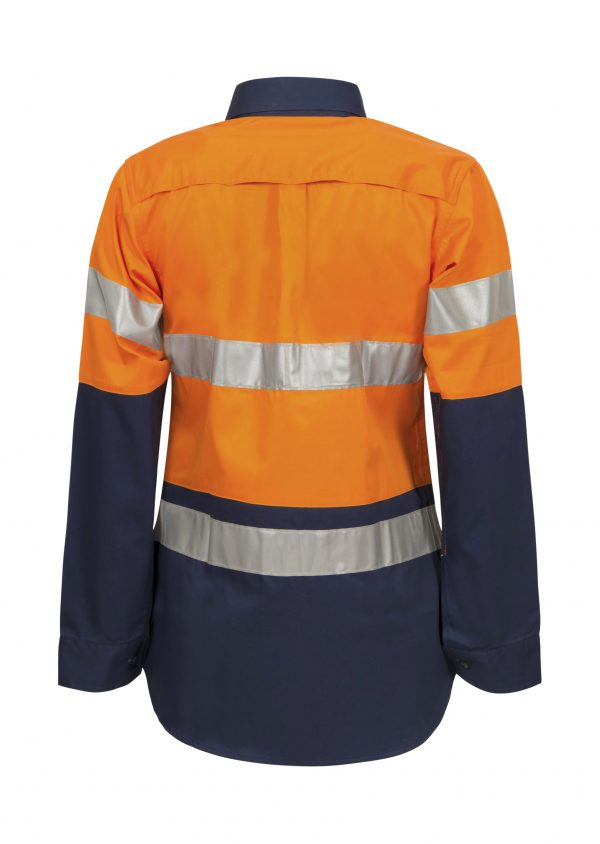 WSL501 Ladies Hi Vis Two Tone Long Sleeve Cotton Drill Shirt With CSR Tape NO2