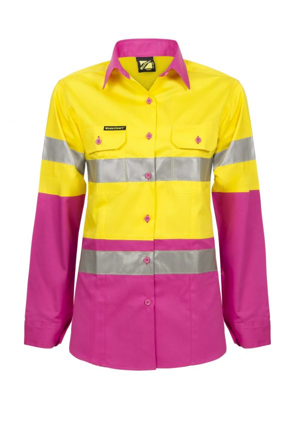 WSL501 Ladies Hi Vis Two Tone Long Sleeve Cotton Drill Shirt With CSR Tape PY1