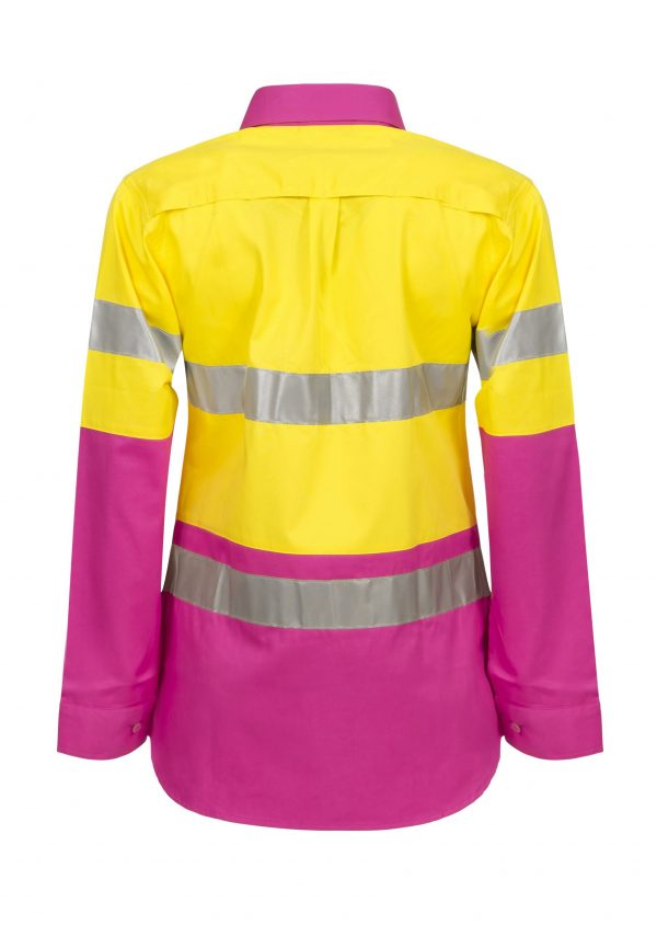 WSL501 Ladies Hi Vis Two Tone Long Sleeve Cotton Drill Shirt With CSR Tape PY2