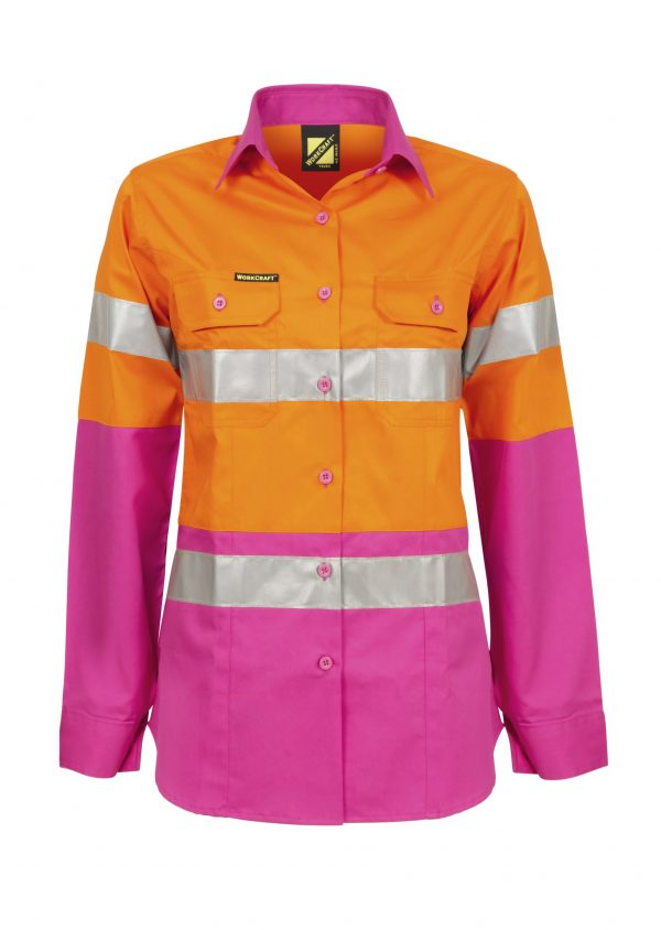 WSL501 Ladies Hi Vis Two Tone Long Sleeve Cotton Drill Shirt With CSR Tape PO1
