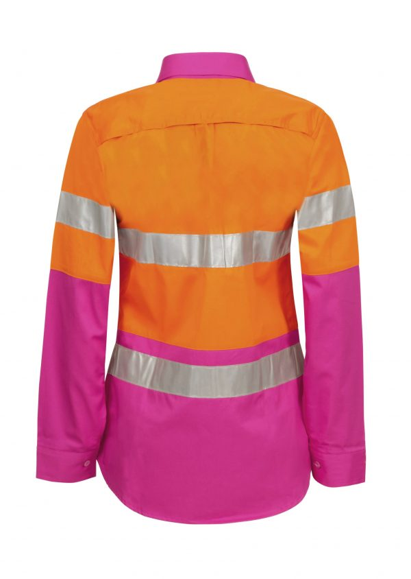 WSL501 Ladies Hi Vis Two Tone Long Sleeve Cotton Drill Shirt With CSR Tape PO2