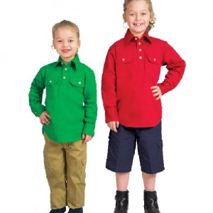 WSK131 Kids Lightweight Long Sleeve Half Placket Cotton