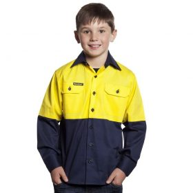 WSK127 Kids Lightweight Two Tone Long Sleeve Cotton Drill NY1