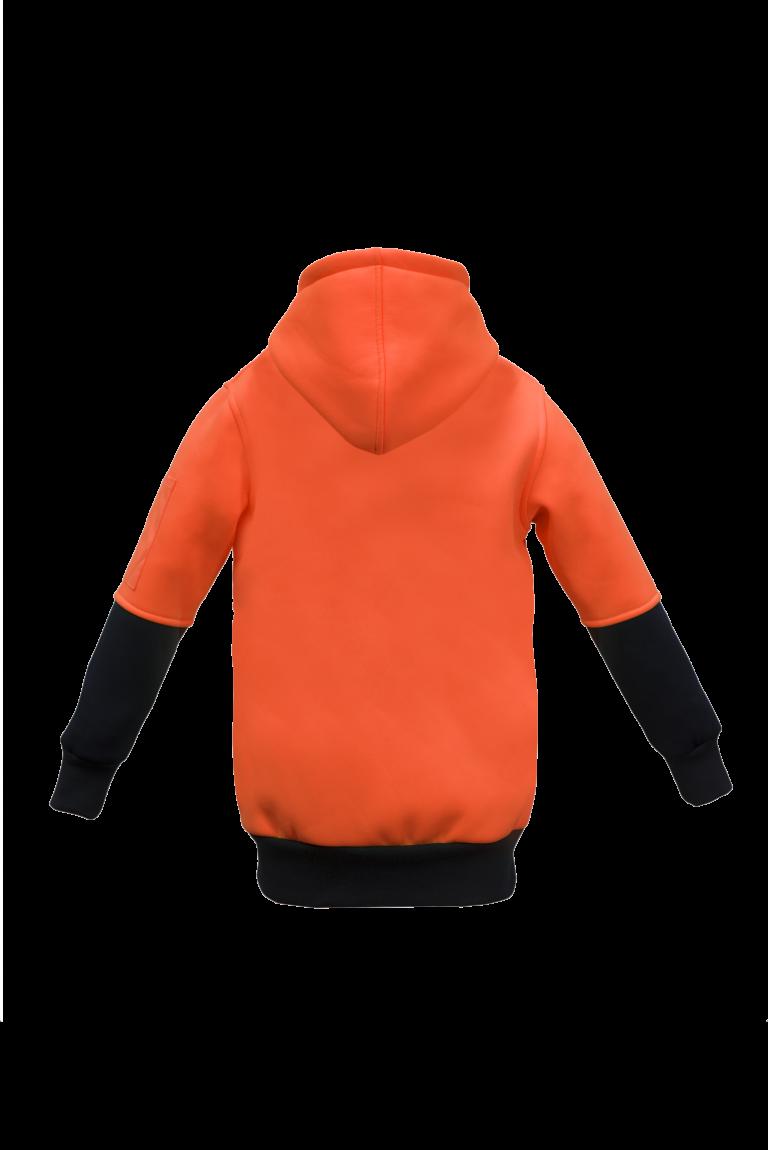 WK8009 Kids Two Tone Hoodie - brushed Back Fleece Orange2