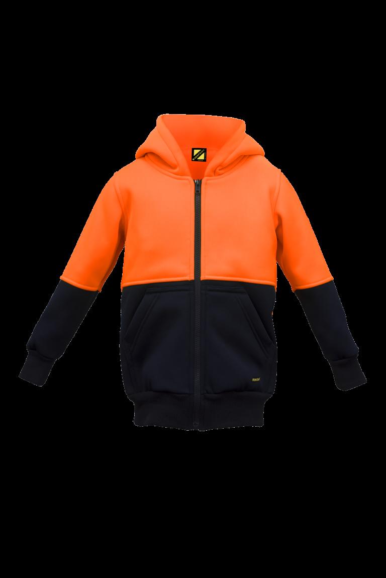 WK8009 Kids Two Tone Hoodie - brushed Back Fleece Orange1