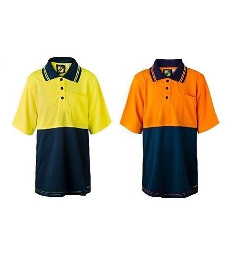 WSPK20 Kids Two Tone Short Sleeve Micromesh Polo With Pocket