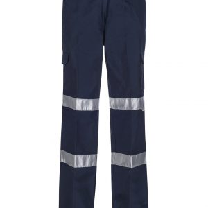WPL075 Ladies Mid Weight Cargo Cotton Drill Trouser with CSR Reflective tape NAV1