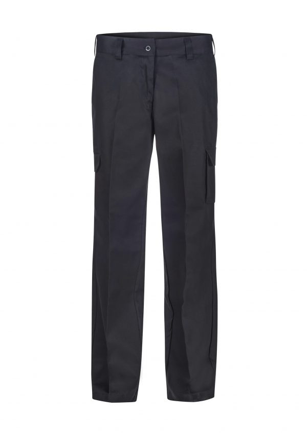 WPL070 Ladies Mid Weight Cargo Cotton Drill Trouser BLK1