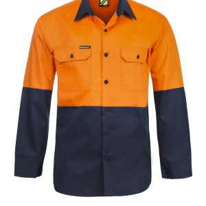 WS4247 Lightweight Hi Vis Two Tone Long Sleeve Vented Cotton Drill Shirt NO1