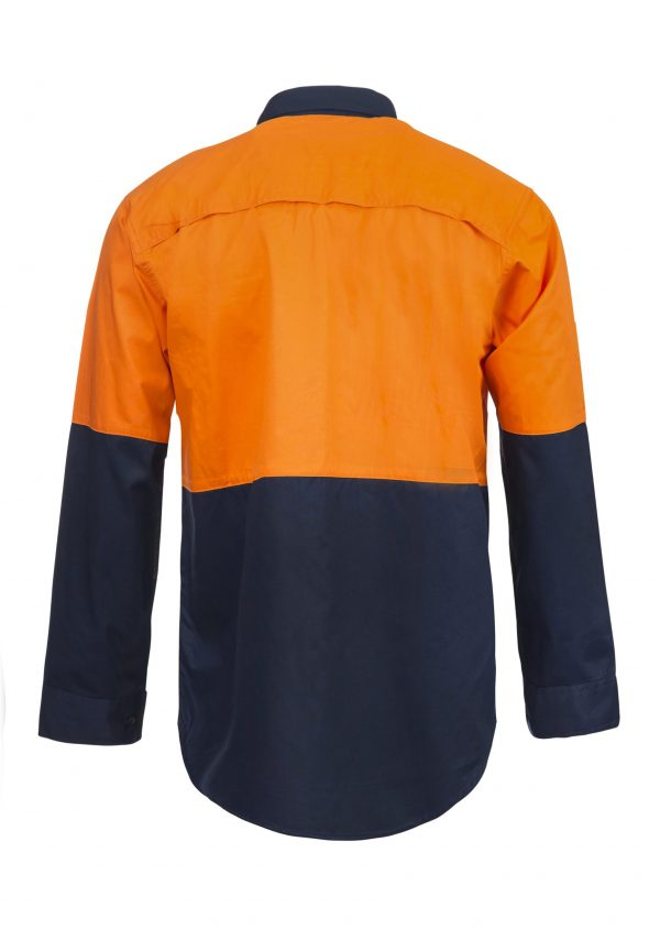WS4247 Lightweight Hi Vis Two Tone Long Sleeve Vented Cotton Drill Shirt NO2