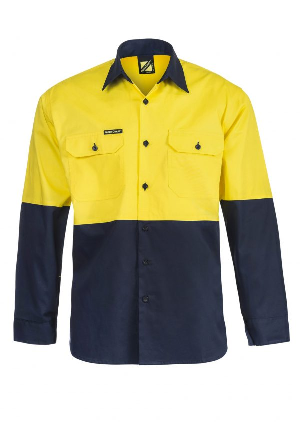 WS4247 Lightweight Hi Vis Two Tone Long Sleeve Vented Cotton Drill Shirt NY1