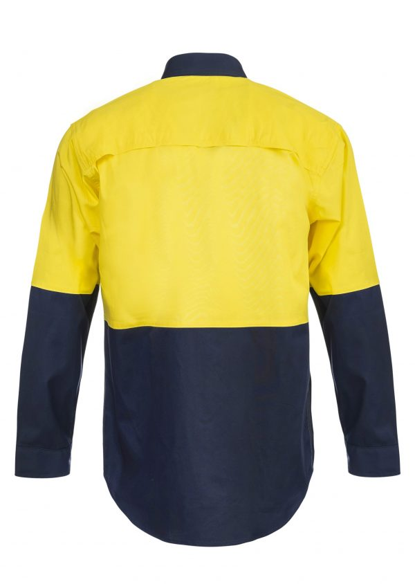 WS4247 Lightweight Hi Vis Two Tone Long Sleeve Vented Cotton Drill Shirt NY2