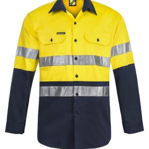 WS4000 Hi Vis Two Tone Long Sleeve Cotton Drill Shirt with CSR Reflective Tape NY1