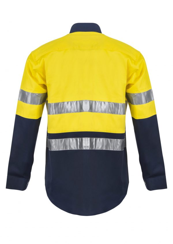 WS4000 Hi Vis Two Tone Long Sleeve Cotton Drill Shirt with CSR Reflective Tape NY2