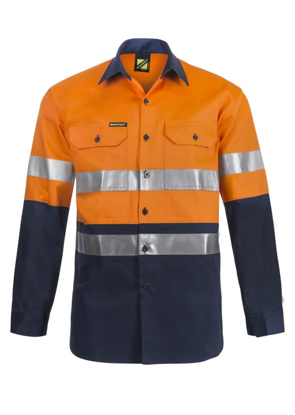 WS4000 Hi Vis Two Tone Long Sleeve Cotton Drill Shirt with CSR Reflective Tape NO1