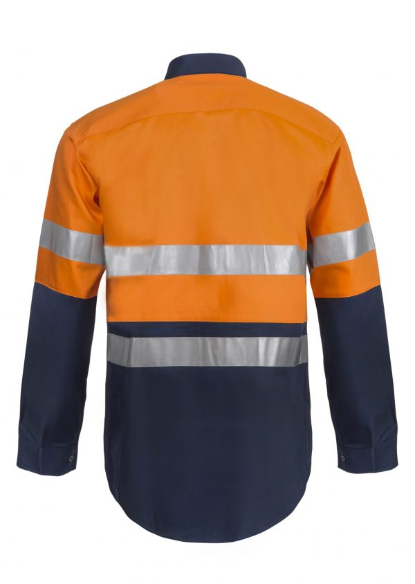 WS4000 Hi Vis Two Tone Long Sleeve Cotton Drill Shirt with CSR Reflective Tape NO2