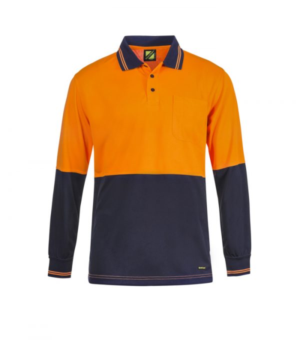 WSP402 HI VIS TWO TONE LONG SLEEVE COTTON BACK POLO WITH POCKET NO1