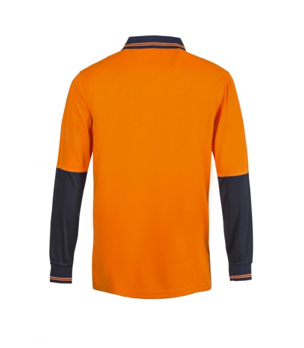WSP402 HI VIS TWO TONE LONG SLEEVE COTTON BACK POLO WITH POCKET NO2