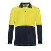 WSP402 HI VIS TWO TONE LONG SLEEVE COTTON BACK POLO WITH POCKET NY1